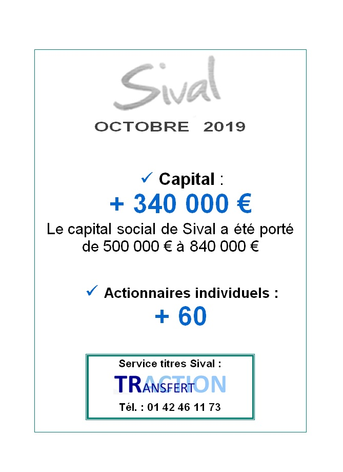 Sival augmentation de capital